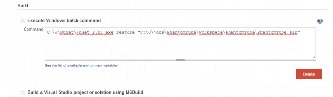 Integrate Jenkins with MSBuild and NuGet
