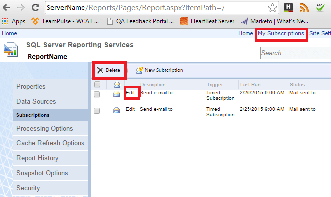 SSRS SQL Server Reporting Services- Subscriptions Reports