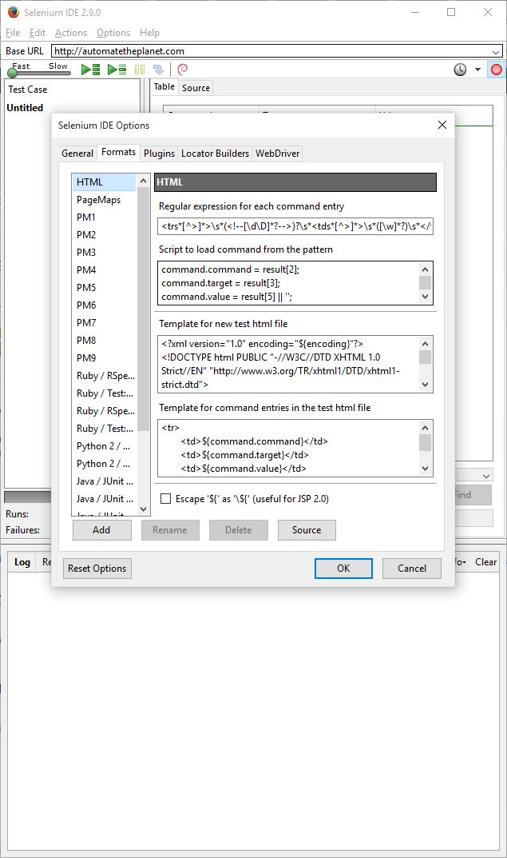Create Custom Selenium IDE Export to WebDriver