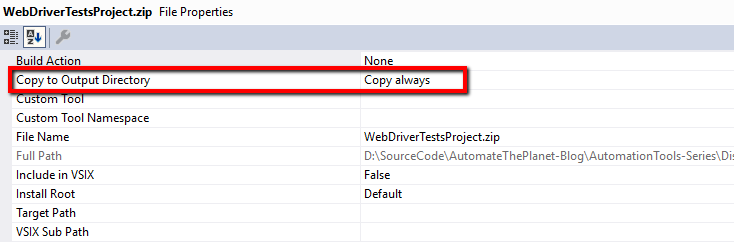 Copy to Output Set to Copy Always