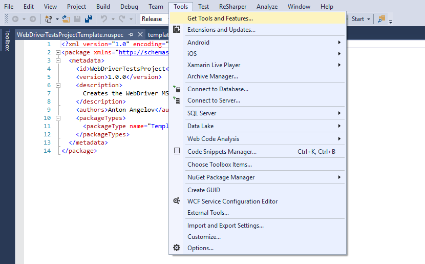 Get Tools and Features Menu Visual Studio
