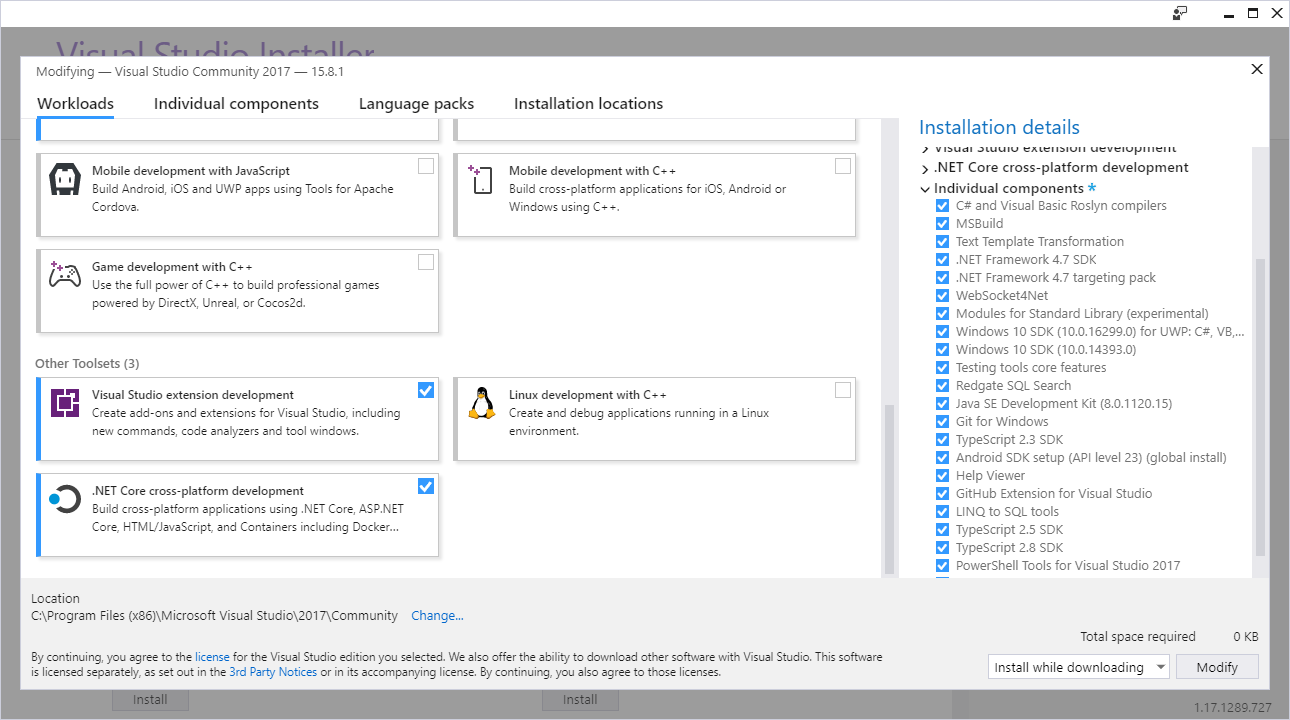 Visual Studio Installer VS extension development feature