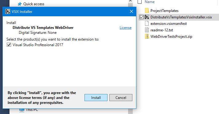 Install VSIX Extension