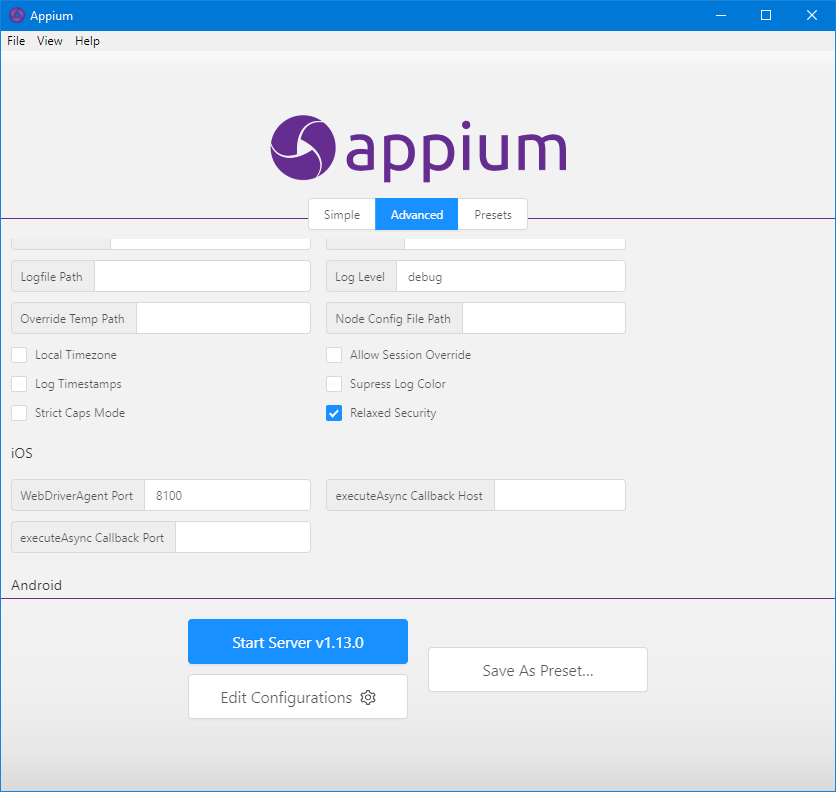 Appium Desktop Relaxed Security